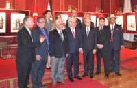 Top row: Zeynep Guven (TCA), Mrs. Yilmaz and Mr. Ibrahim Yilmaz of Istanbul Handicraft Center, Basak Kizildemir (TCA). Bottom Row: Lincoln McCurdy (TCA), Valerian Three Irons, Dr. Halit Eren (IRCICA Director General), Huseyin Avni Karslioglu (Chief of Staff to President Gul); Scott Kilner (U.S. Consul General); Andre Gallardo and Shawn Real Bird.