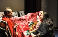 Presentation of traditional Indian blankets from NAIHC Chairwoman Cheryl Causley to Turkish Ambassador  Namik Tan as gesture of friendship.